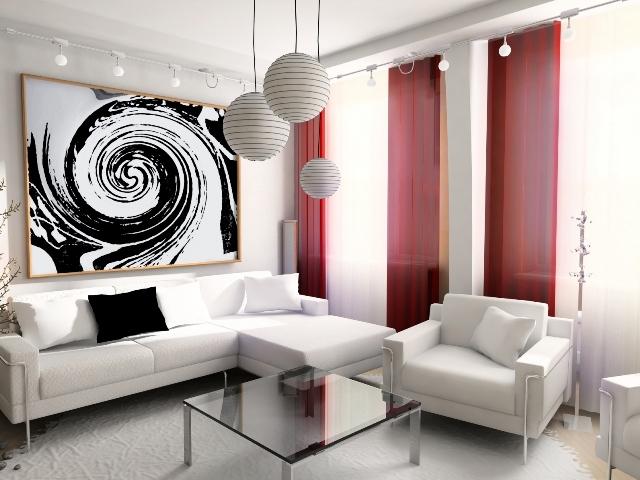белый интерьер с контрастными цветами