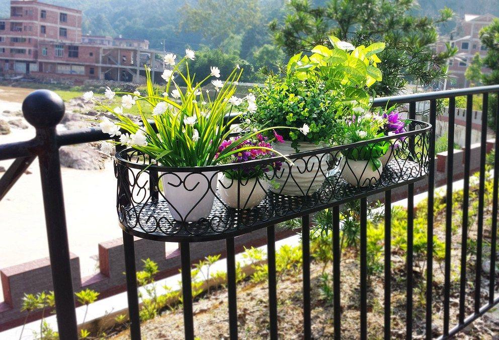 подставка навесная на перила для цветочных горшков