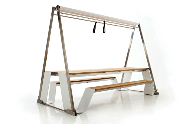 стол Hopper-Shade со сложенным тентом
