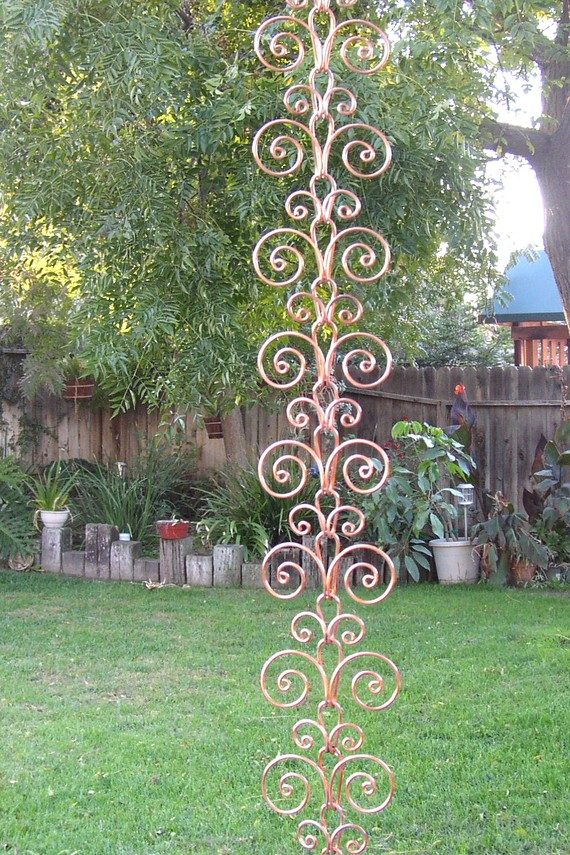 Solid Copper Swirl Rain Chain