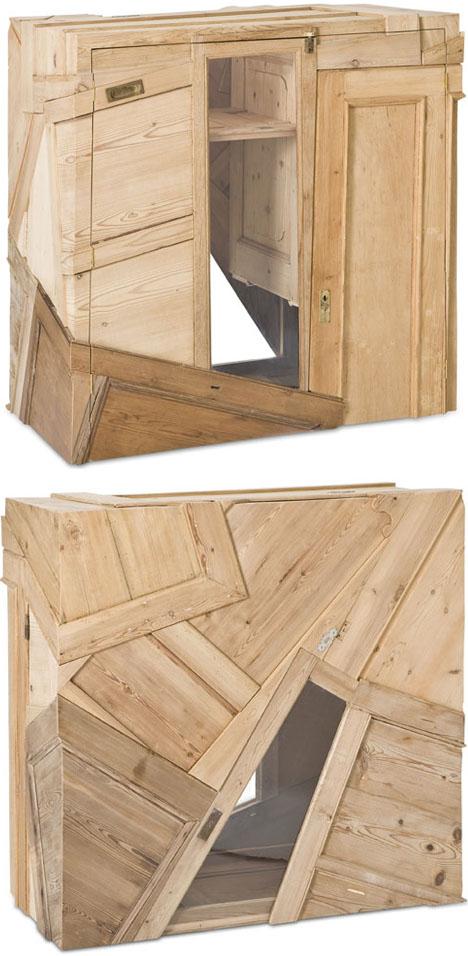 шкафы из деревянного лома и дверей