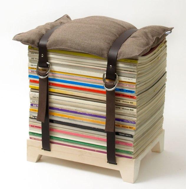 как сделать табуретку из стопки журналов