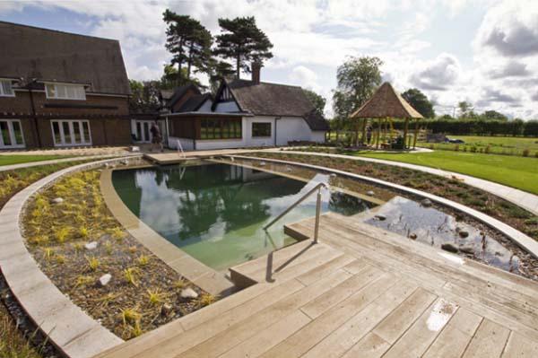 пруд бассейн с террасой