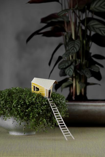 домики из бумаги как декор комнатных растений