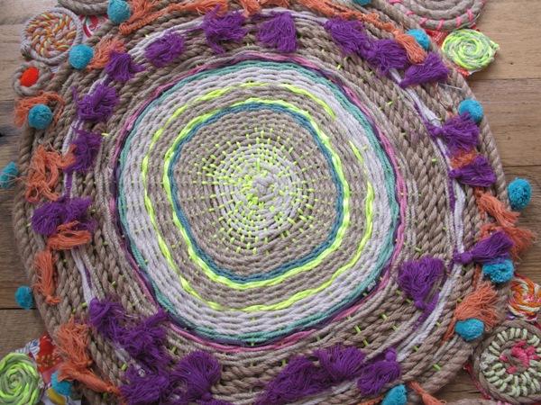 плетение круглого коврика из веревок