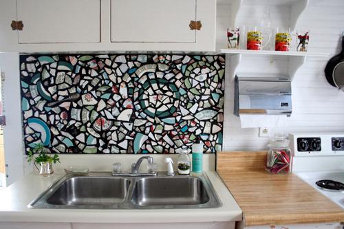 мозаика на кухне над раковиной