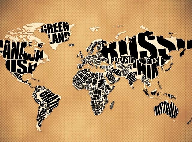 абстрактная карта мира как декор стены