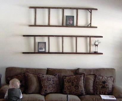стремянки в интерьере - полки на стенах