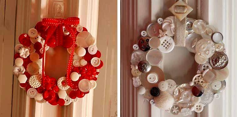 декоративный веночек из пуговиц