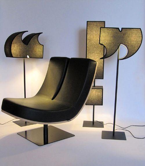 мебель в виде букв и знаков