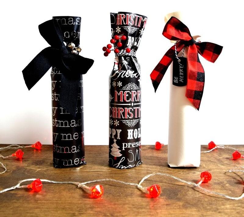 красивая упаковка бутылки в подарок к Рождеству