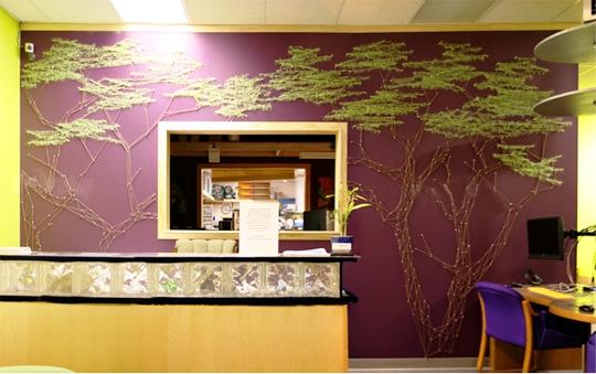 дерево на стене - стринг арт своими руками