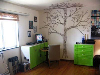 дерево из нитки на стене своими руками