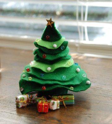 новогодний декор - елка из фетра