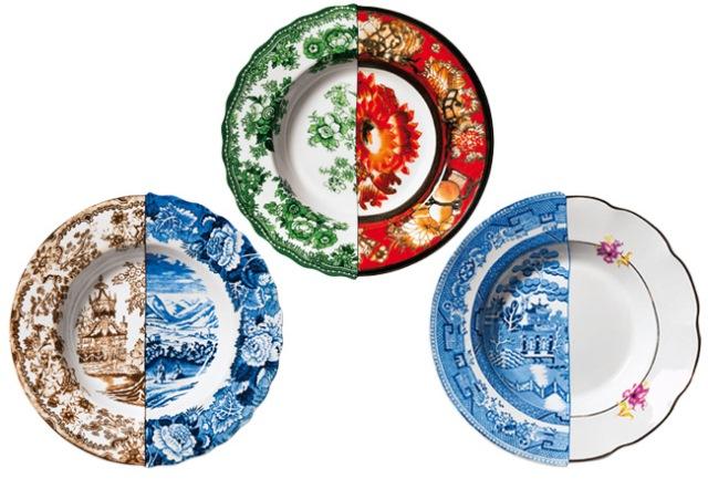 фарфоровая посуда из половинок seletti