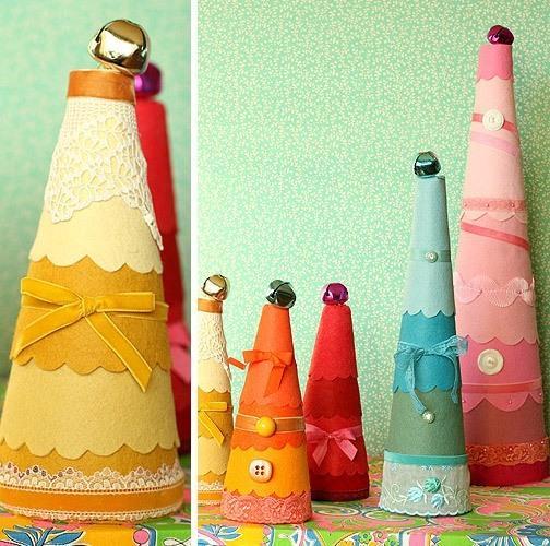 декоративные елки из ткани