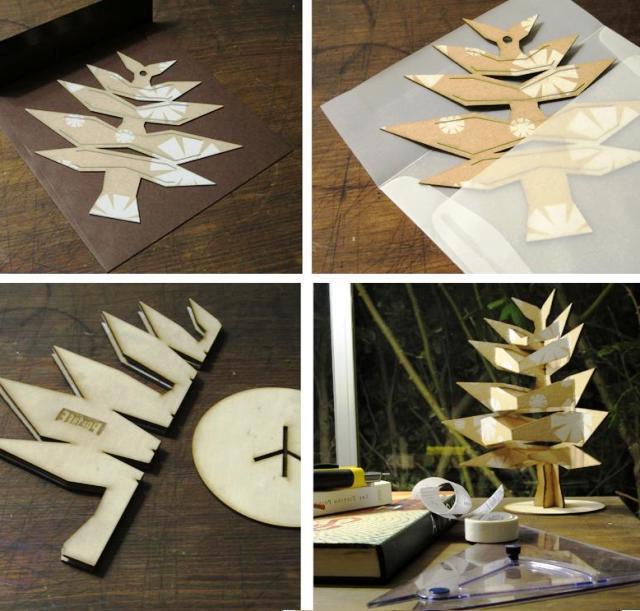 pop tree современная искусственная елка из картона или дсп