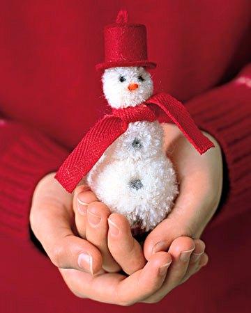 елочная игрушка снеговик своими руками из помпонов