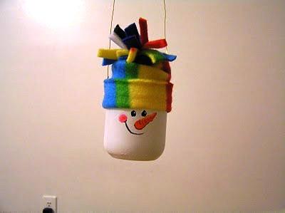 елочная игрушка снеговик своими руками из банки