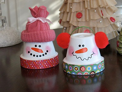 снеговики из горшков