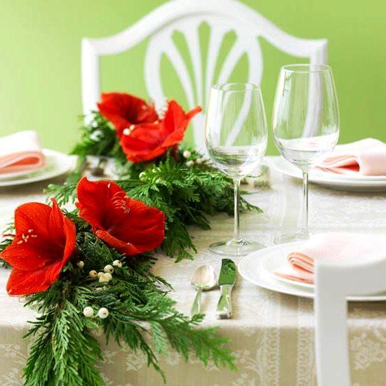 новогодние цветочные композиции - сервировка стола