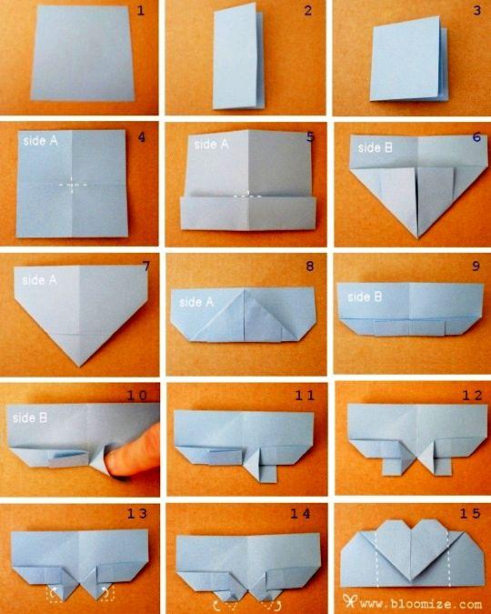 закладка cердечко оригами