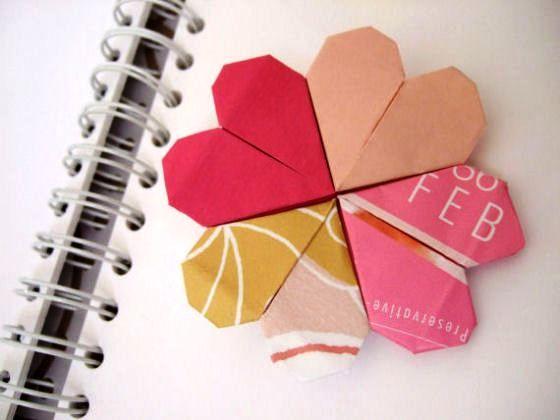 закладки в виде сердечка из бумаги своими руками