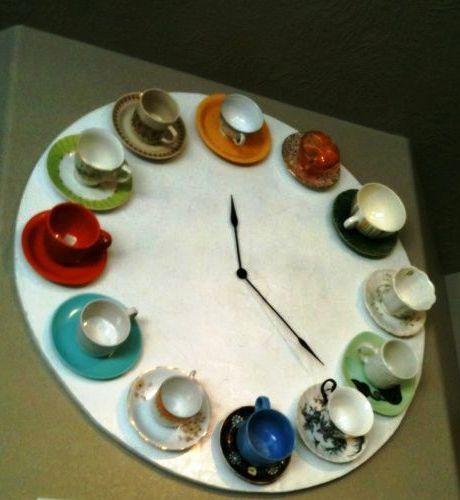 мастер-класс как сделать часы из кофейных чашек своими руками