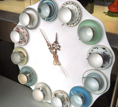 как сделать часы из чашек своими руками