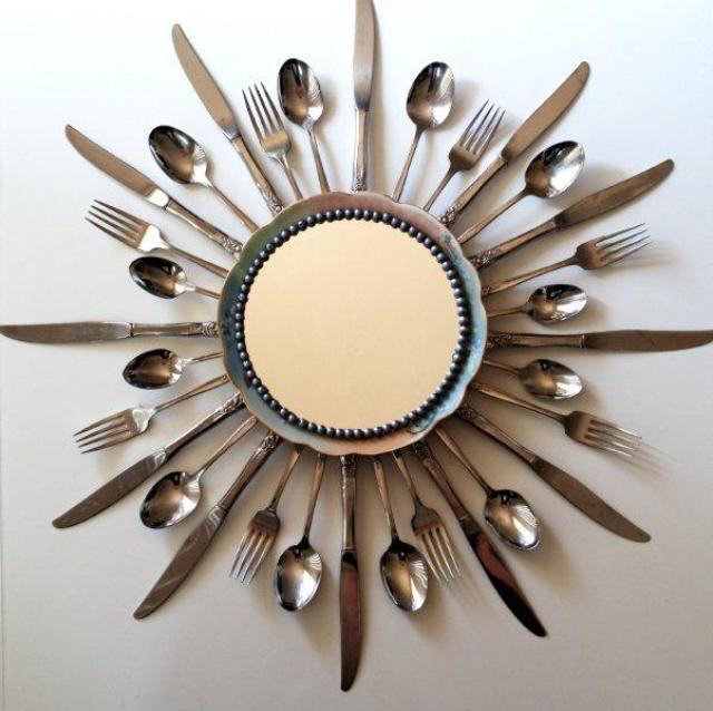 рама для зеркала своими руками из столовых приборов