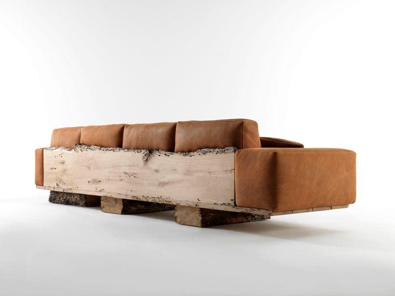 диван со спинкой из натурального дерева Riva 1920