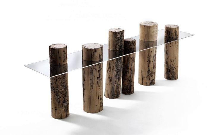 стол Venice из натурального дерева и стали