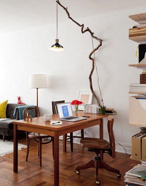 светильник из ветки дерева