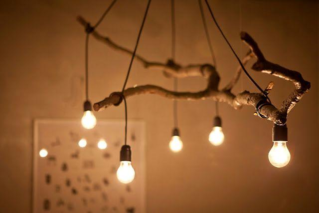 потолочный светильники из веток своими руками