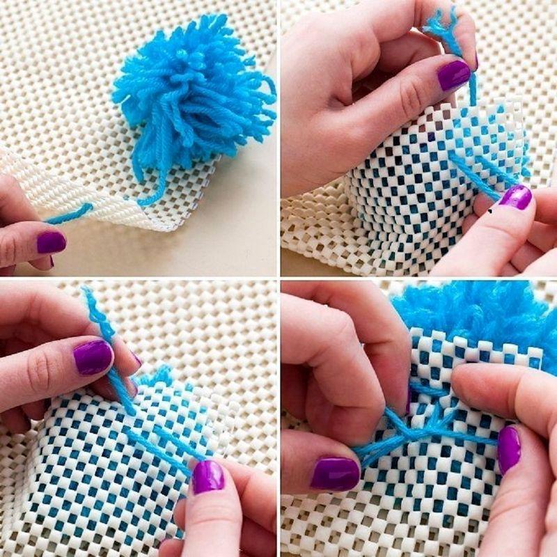 Как сделать ковёр из помпонов своими руками 178