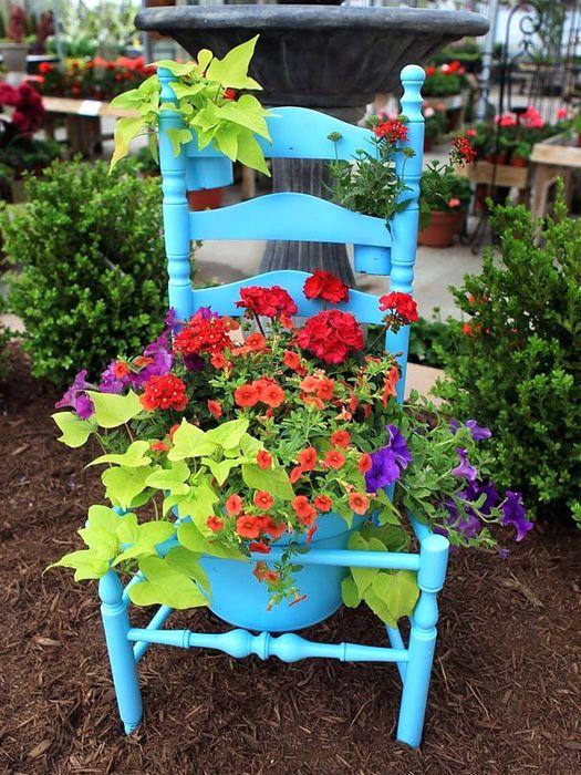 горшки для растений из предметов - стул