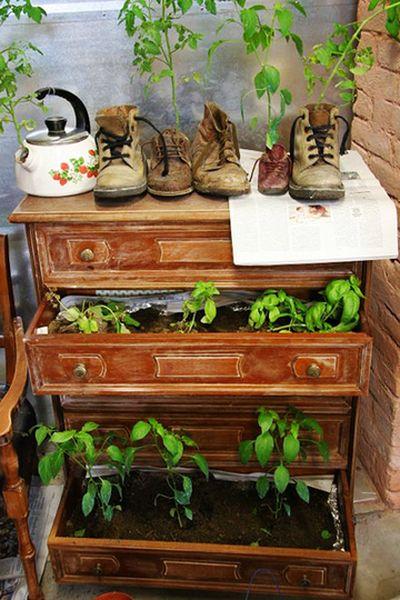 горшки для растений из предметов - комод и ботинки