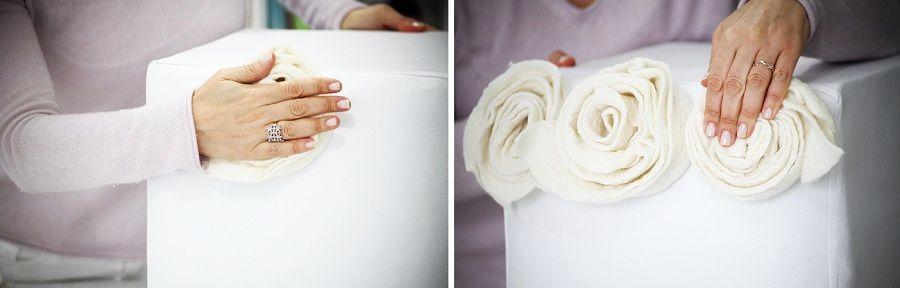 декор пуфа розами из фетра
