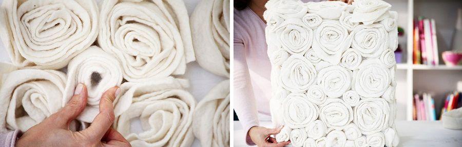 декор пуфика розами