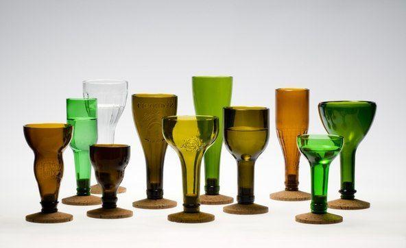 бокалы - поделки из стеклянных бутылок