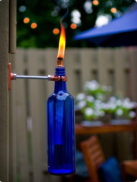 факел из стеклянной бутылки