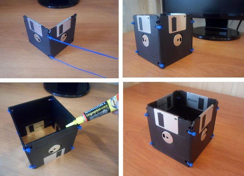 как сделать подставку для карандашей из дискет
