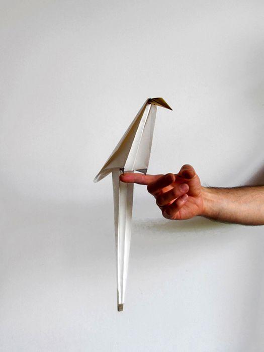 светильник в форме птицы оригами