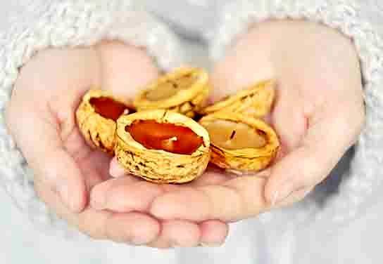 свечи в скорлупе ореха своими руками