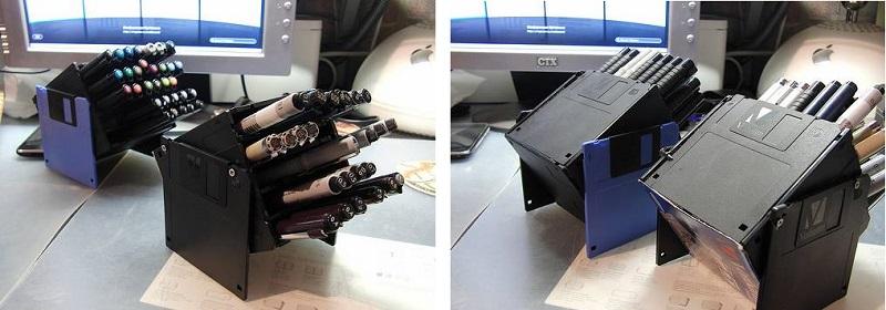 поделки из дискет - подставки для карандашей