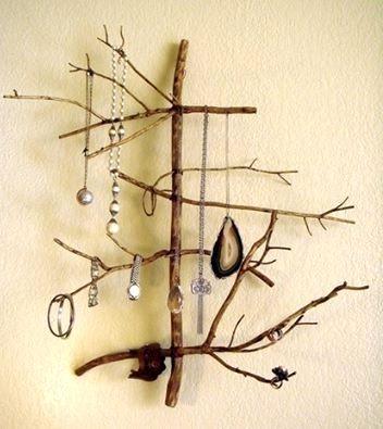 настенный органайзер для украшений своими руками из ветки