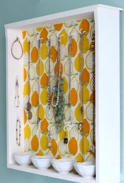 идеи для хранения бижутерии на стене в ящиках