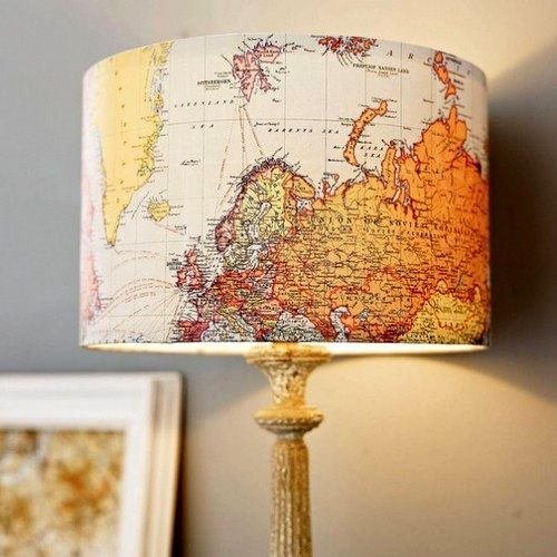 абажур с картой мира
