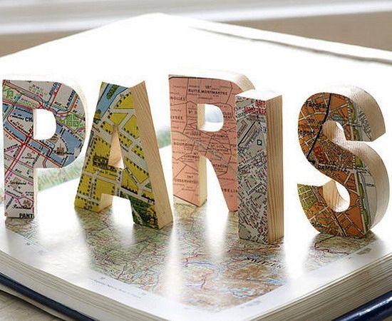 географические карты на декоративных буквах 02