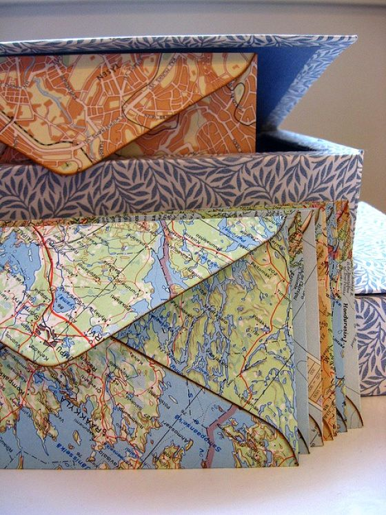 конверты из географических карт